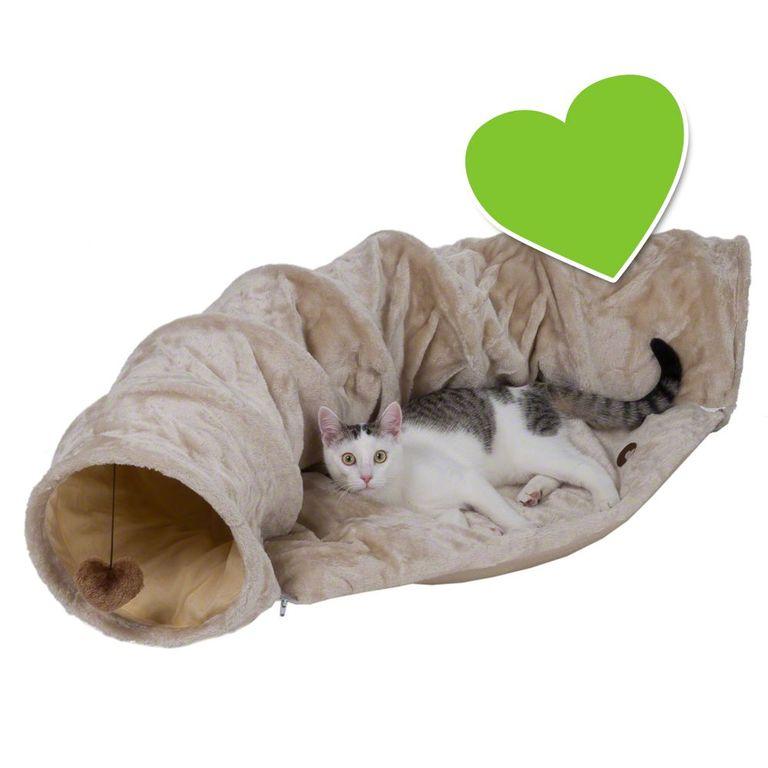 Kuscheliger Rückzugsort und aufregender Spielplatz in Einem: Der zoolove Katzentunnel lädt Ihre Fellnase je nach Laune zum Toben oder Ausruhen ein. Das dick wattierte, gemütliche Kissen ist mit einem Reissverschluss am Tunnel befestigt. Die flexible Rolle kann dabei als weiche...